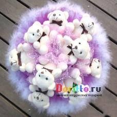 """Букет из игрушек """"Деловой медведь"""" фиолетовый"""