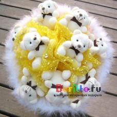 """Букет из игрушек """"Деловой медведь"""" жёлтый"""