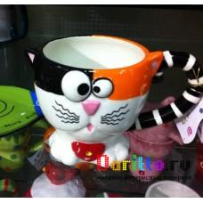 Керамическая чашка Кошка с блюдцем