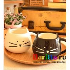Керамическая кружка Чёрная кошка белый кот