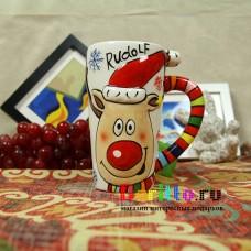 Керамическая чашка Олень Рудольф
