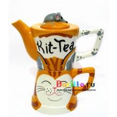 Чайный набор (чайник+чашка) Кошка