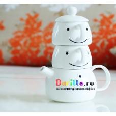 Чайничек + 2 чашки Снеговик