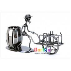 Металлическая фигурка карандашница Рикша