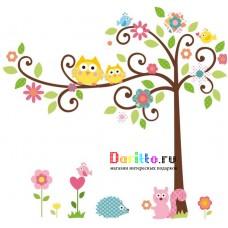 Наклейка на стену Дерево и совы
