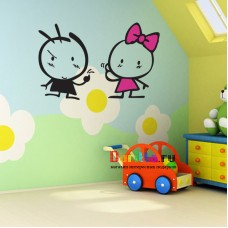 Наклейка на стену Мальчик и девочка