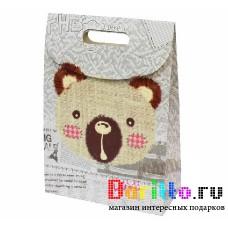 Подарочная короба пакет конверт С медведем
