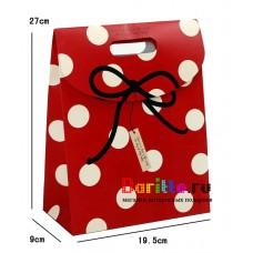 Подарочная короба пакет конверт В горошек
