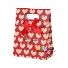 Подарочная короба пакет конверт С сердечками